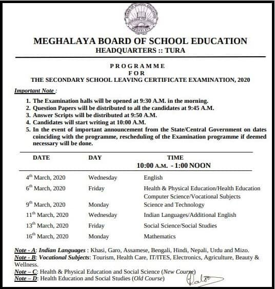 Sample Image for MBOSE SSLC Routine 2021