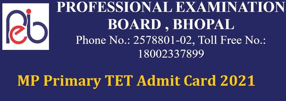 MP Primary TET Admit Card 2021