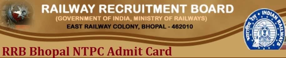 RRB Bhopal NTPC Admit Card