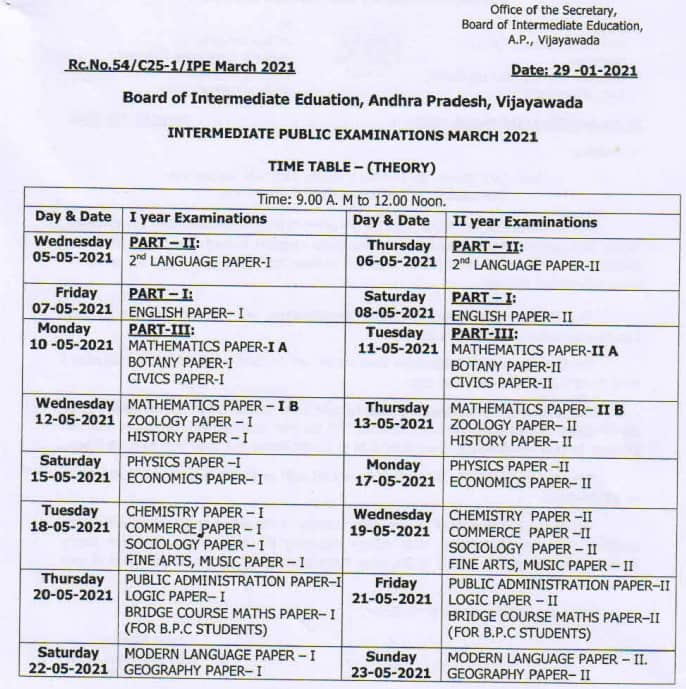 AP Intermediate Exam Time Table 2021 PDF
