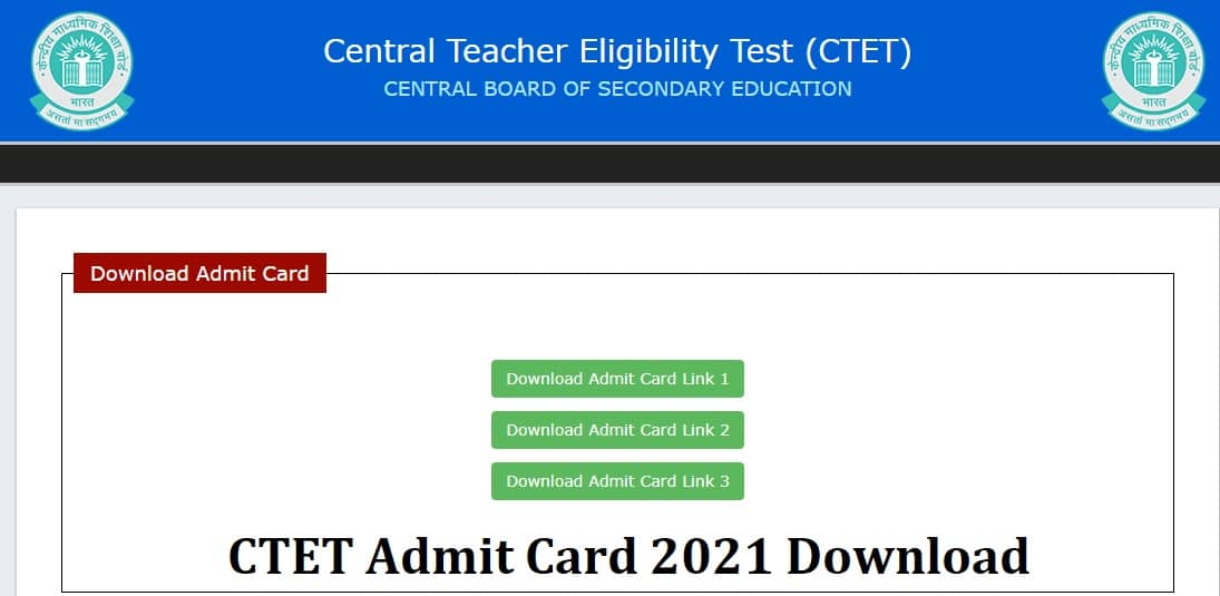 CTET Admit Card 2021 Download @ctet.nic.in