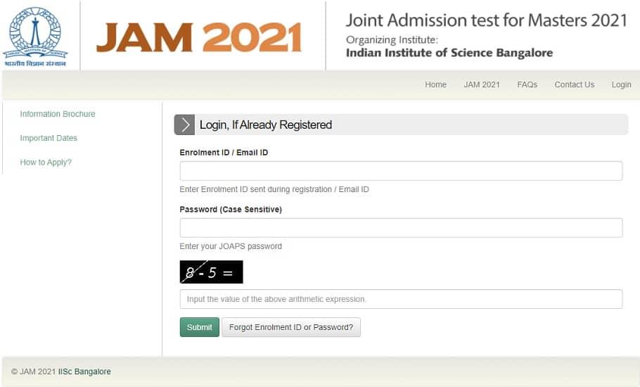IIT JAM 2021 Hall Ticket JOAPS