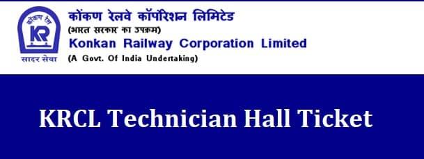 KRCL Technician Hall Ticket Admit Card