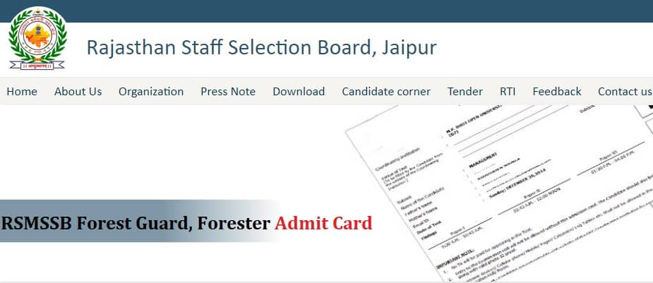 RSMSSB Forest Guard Forester Admit Card