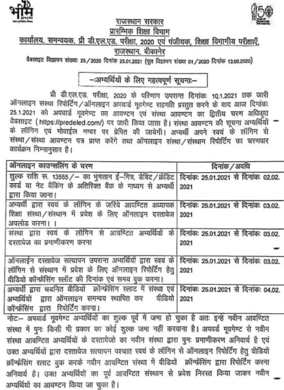Rajasthan BSTC College Allotment Result 2021