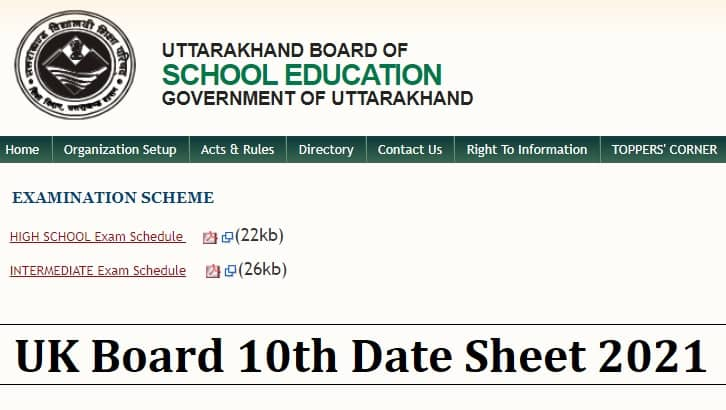 Uttarakhand Board 10th Date Sheet 2021