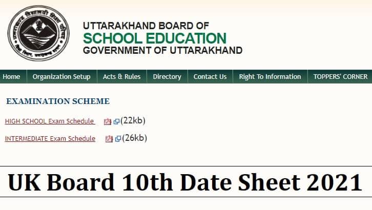 Uttarakhand Board 10th Date Sheet 2021