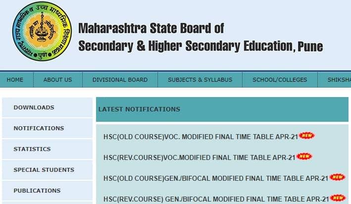 Maharashtra HSC Time Table 2021 Modified Final
