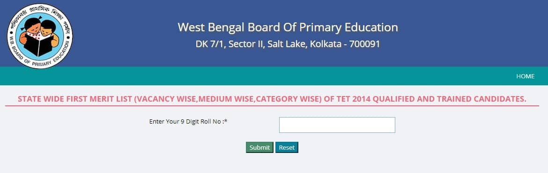 West Bengal TET-2014 Merit List