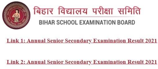 Bihar Annual Senior Secondary Examination Result 2021 Link 1 2