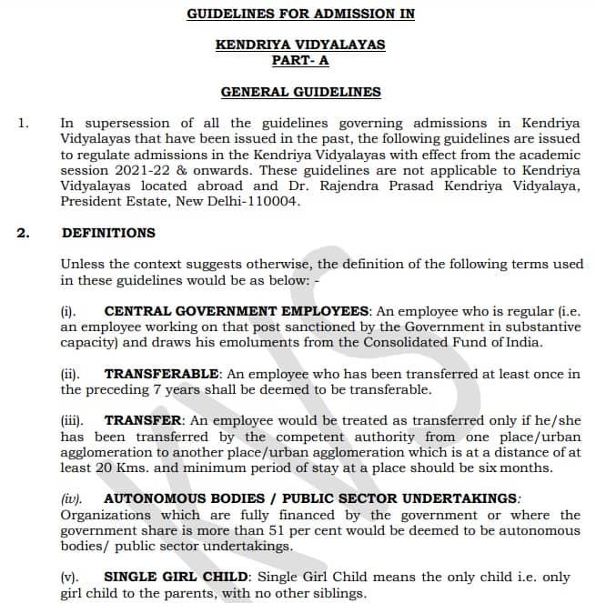 KVS Admission 2021 22 Guidelines