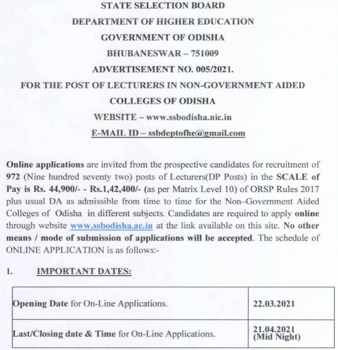 SSB Odisha Lecturer Recruitment 2021 Notification