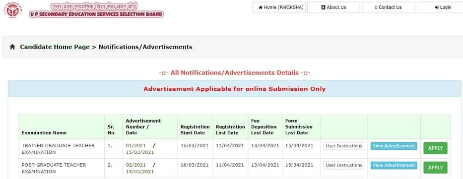 UPSESSB TGT PGT Recruitment 2021 Online Form