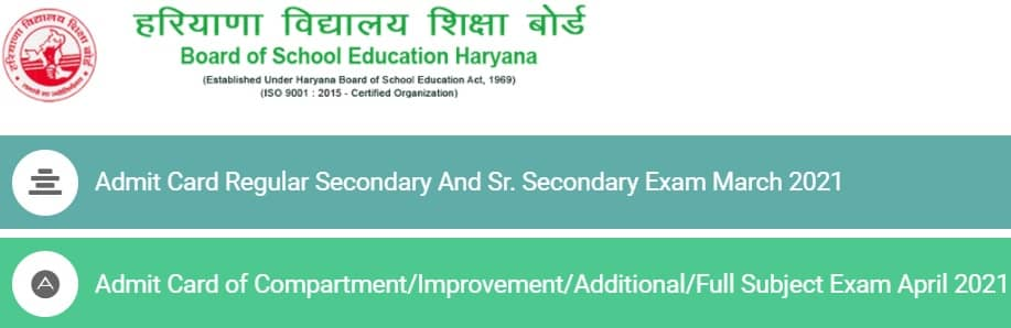 HBSE Admit Card 2021 Class 10th 12th Reppear Compartment Regular March April 2021