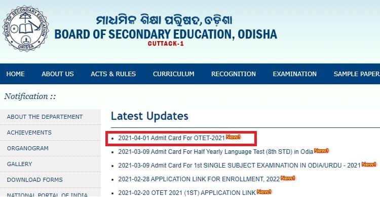 OTET Admit Card 2021 bse odisha ac in