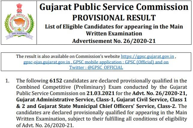 GPSC Class 1 2 Prelims Result 2021