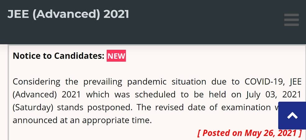 JEE Advanced 2021 Postponed