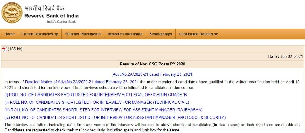 RBI Non CSG Result 2021 Legal Officer, Assistant Manager