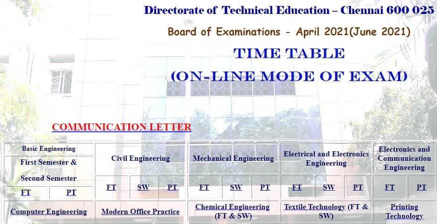 TNDTE April 2021 Time Table