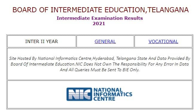 TS Inter II Year Results 2021 examresults.ts.nic.in