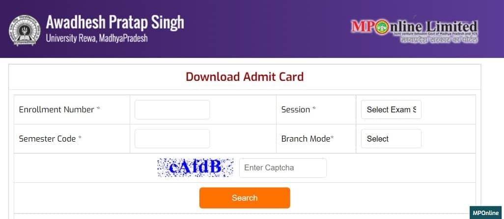 APSU Admit Card