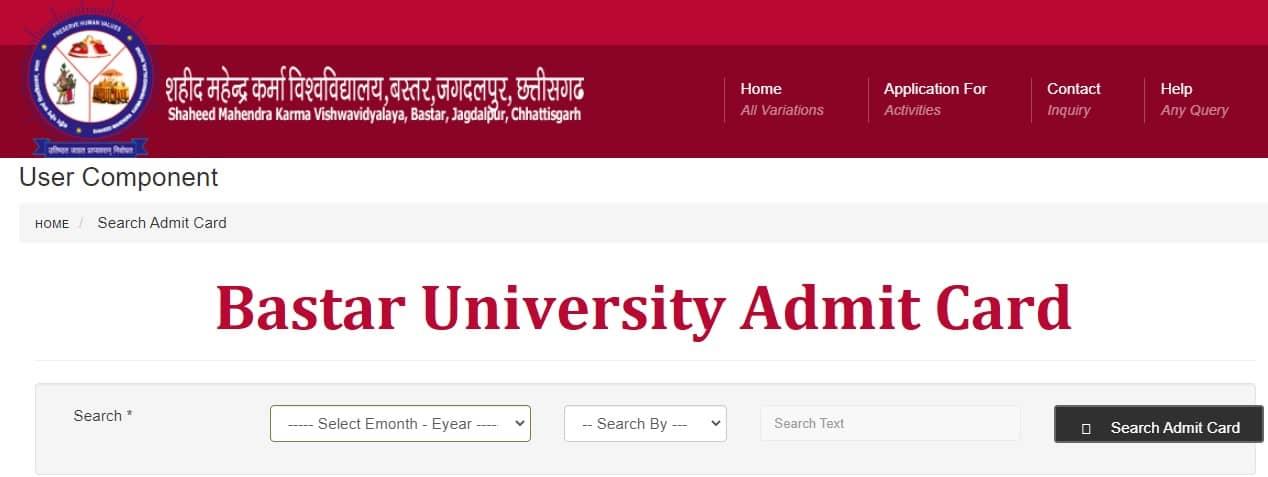 Bastar University Admit Card