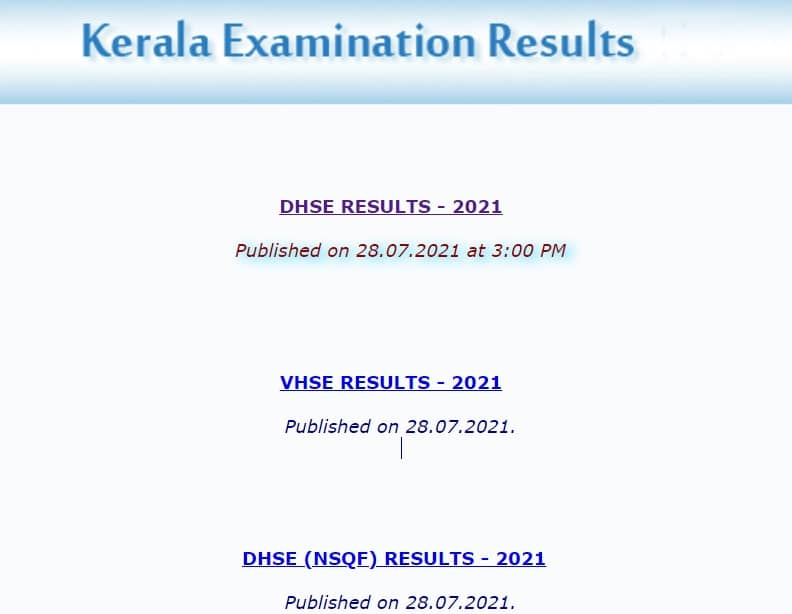 Keralaresults.nic.in 2021 DHSE VHSE DHSE NSQF Results published on 28 7 2021