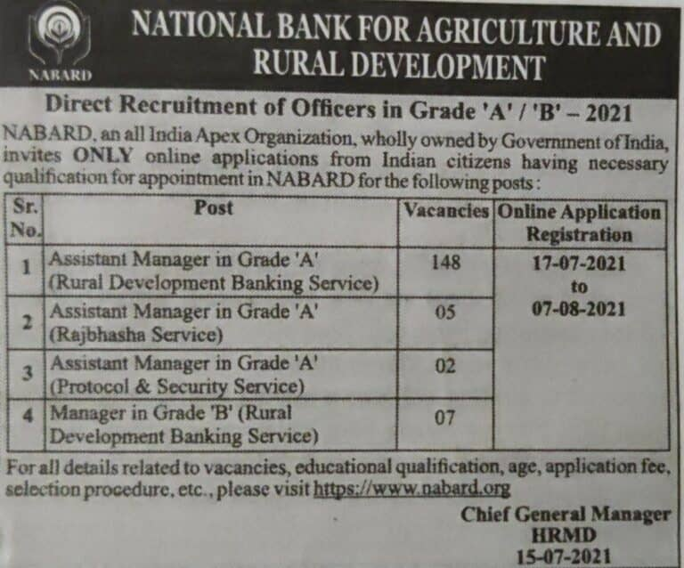 Nabard Grade a b notification 2021