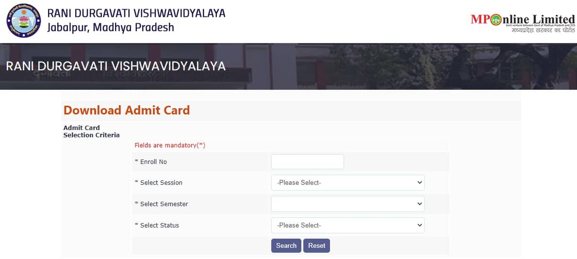 RDVV Admit Card