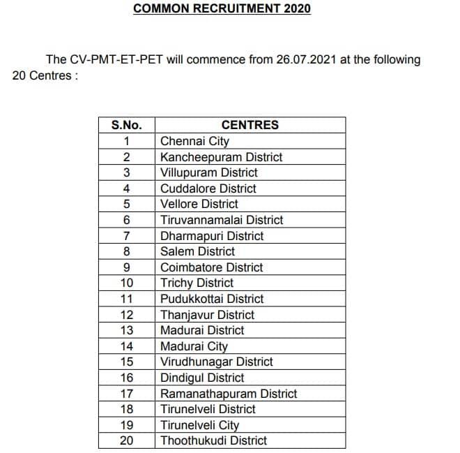 TNUSRB Common Recruitment 2020 CV-PMT-ET-PMT Centres
