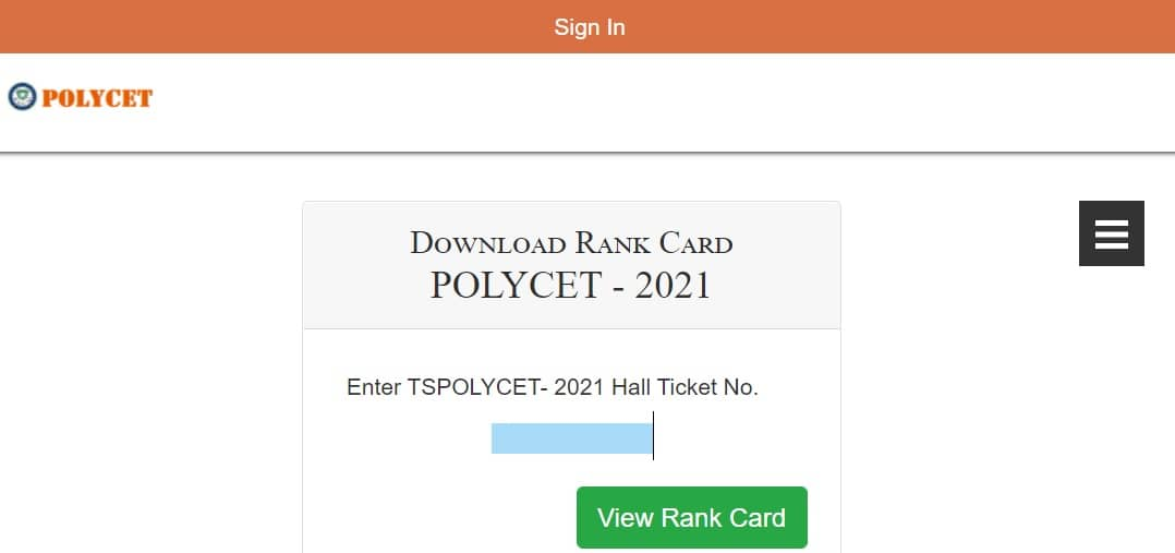 TS POlycet 2021 results rank card download