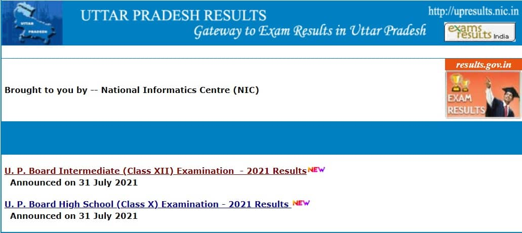 UP Board Result upresults.nic.in