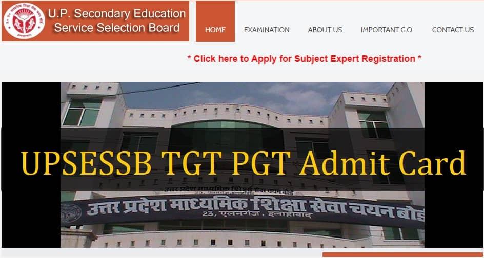 UPSESSB TGT PGT Admit Card