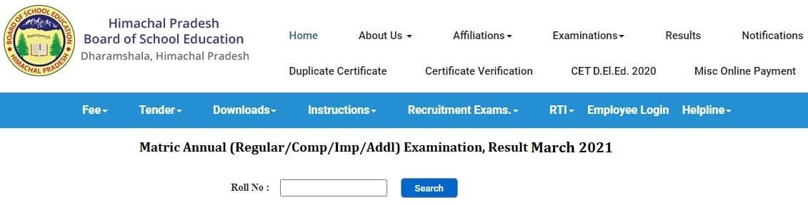 hpbose.org 10th Result 2021