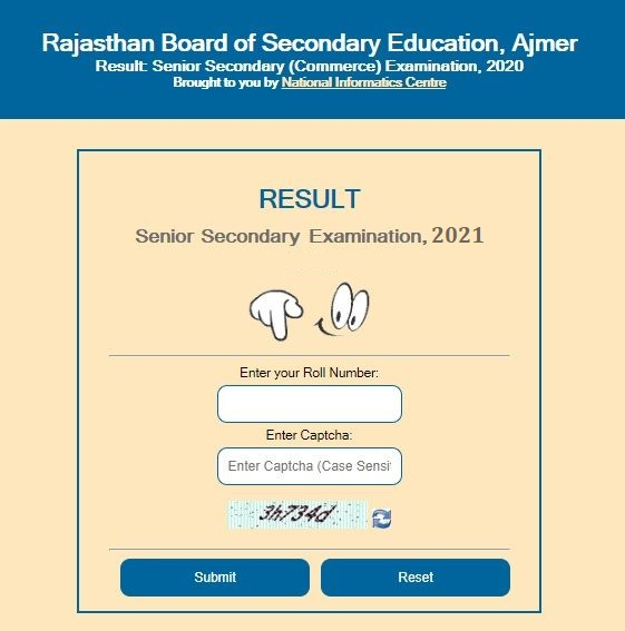 rajresults.nic.in 2021 Class 12th arts commerce science