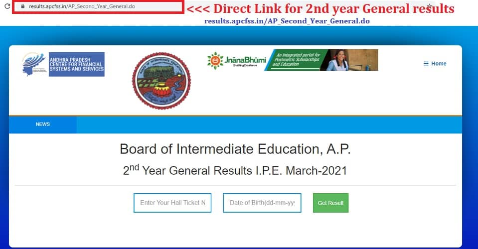 results.apcfss.in 2nd year inter results 2021