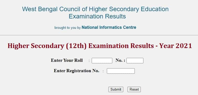 wbresults.nic.in 2021 HS 12th Result