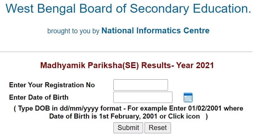 wbresults.nic.in Madhyamik Pariksha (SE) Results - Year 2021