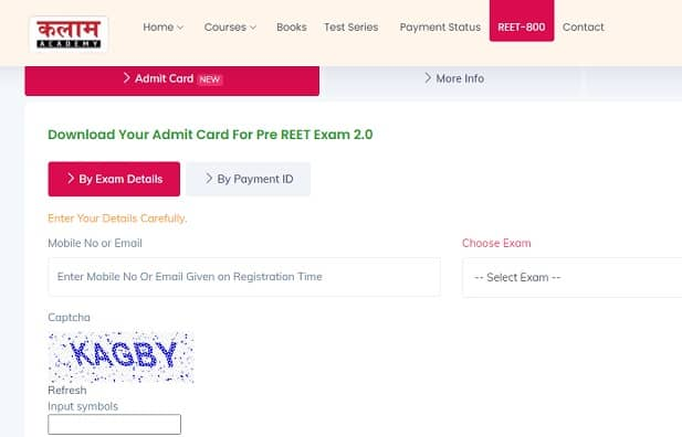 Kalam Academy Pre Reet 2.0 Admit Card
