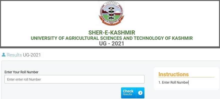 SKUAST Kashmir UG Entrance Result 2021 UET