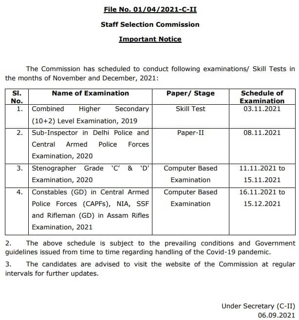 SSC GD Constable Admit Card 2021 Exam Date Notice