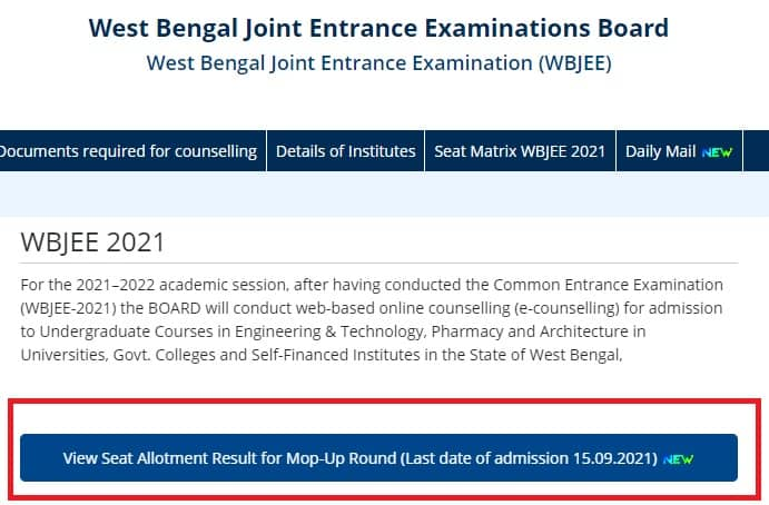 WBJEE Mop-UP Round Result 2021 Seat Allotment